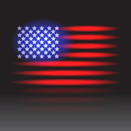 American flag neon lights on a wet floor