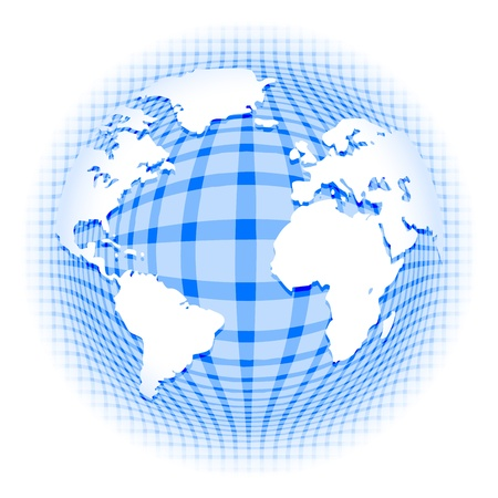 checkered volume: Abstract vector background depicting earth continents on checkered blue pattern