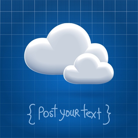 Couple of glossy olastic cloud icons over blueprint background Stock Photo - 19785551