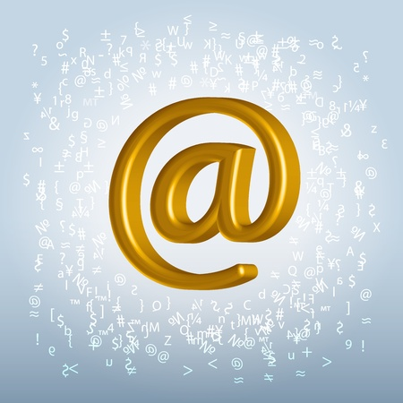 Golden shining metallic email symbol hanging in space backlit over characters splash background Stock Photo - 19785528