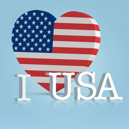 4 july celebration badge with big heart american flag and letters photo