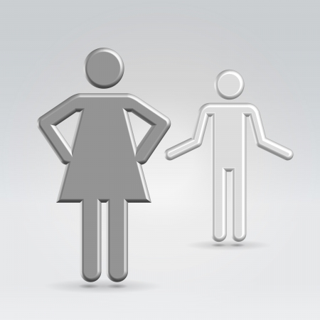 Conflict between man and woman concept abstract stickmen realistic high detailed 3d render Stock Photo - 19785428
