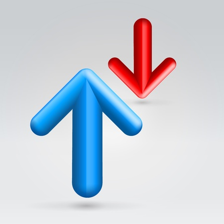 Opposition of red and blue arrows over light background