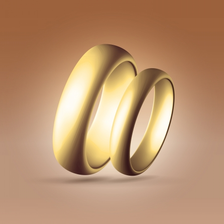 Golden glossy wedding band simple curved couple of rings heart shaped hanging in light chocolate space Stock Photo