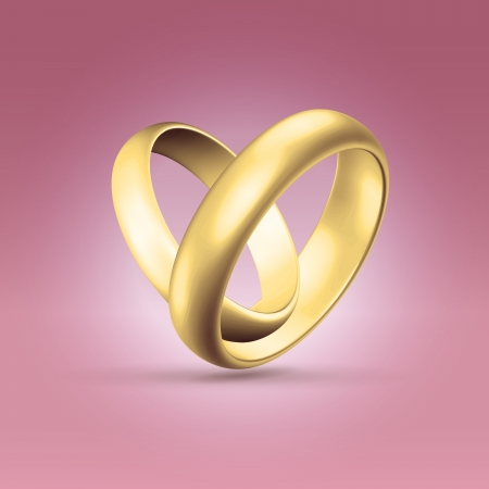 gold rings: Golden glossy wedding band simple curved couple of rings heart shaped hanging in light pink space Stock Photo
