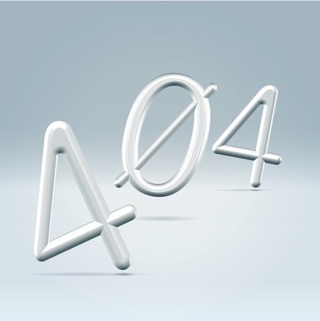 broken link: Web page 404 error page 3d rendered silver glossy letters, falling free in the air