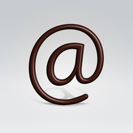 Chocolate email sign dropping shadow