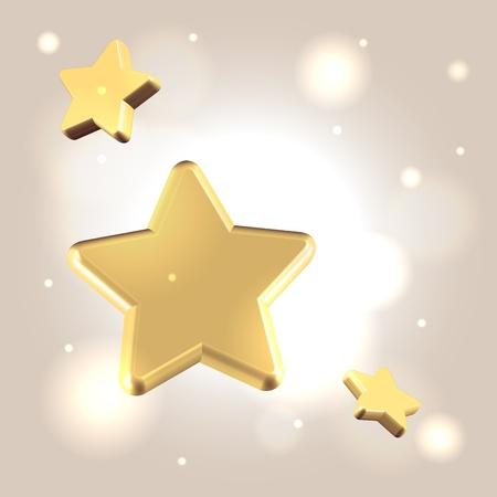 Starry golden warm festive 3d render realistic background Stock Photo - 20509931