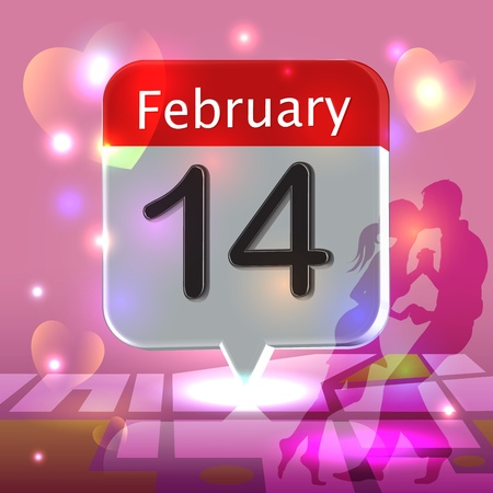 Valentines day on a calendar over romantic kissing couple holding hands. photo