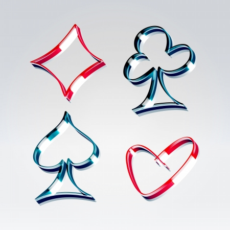 3d neon ribbon contour playing gambling cards symbols