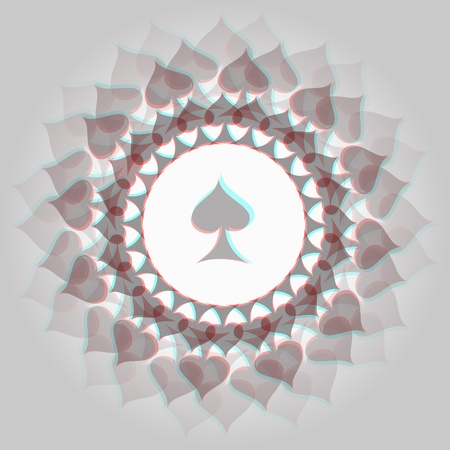 Spades 3d anaglyph effect 3d decorative background Stock Photo