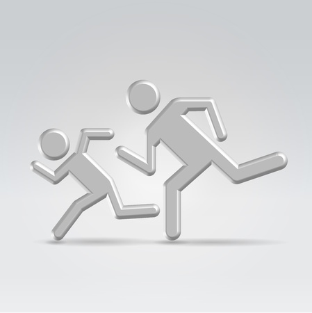 Running children icon concept shot backlit made of metal Stock Photo - 20509805