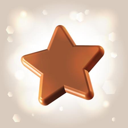 Chocolate smooth polished star over light shining background Stock Photo