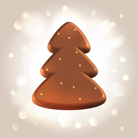 Chocolate smooth polished new year tree over light shining background