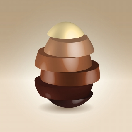 Chocolate egg made of various color chocolate slices over light background photo