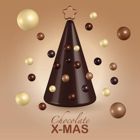 Chocolate christmas tree decorations greetings postcard Stock Photo