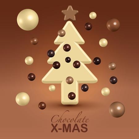 Chocolate christmas tree decorations greetings postcard