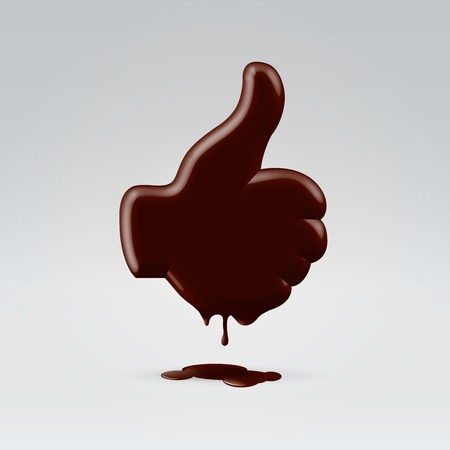 chocolate melt: Glossy chocolate thumb up hand silhouette melting and dripping Stock Photo