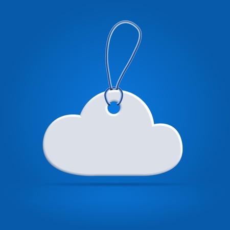 White plastic cloud shaped tag label with rope over blue Stock Photo
