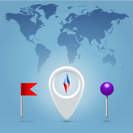 Navigation application compass, pin and flag glossy realistic icon set hanging over blue background