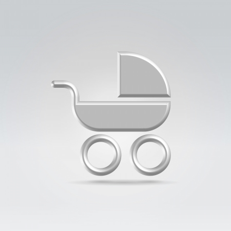 Pram carry cot icon concept shot backlit made of metal photo