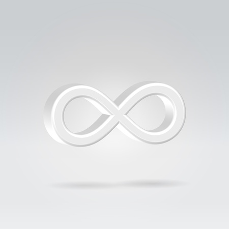 trajectory: Glowing white silver bright infinity symbol 3d closeup backlit hanging in space Stock Photo