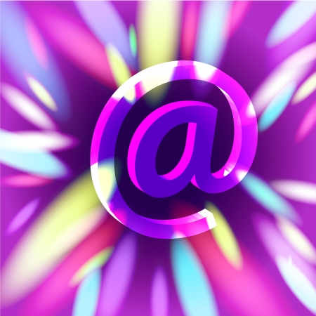Violet shaded glossy glass email symbol flying into depths of internet Stock Photo