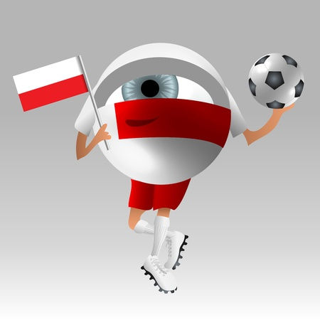 Symbolistic eyeball fan in poland soccer uniform ready with flag and ball