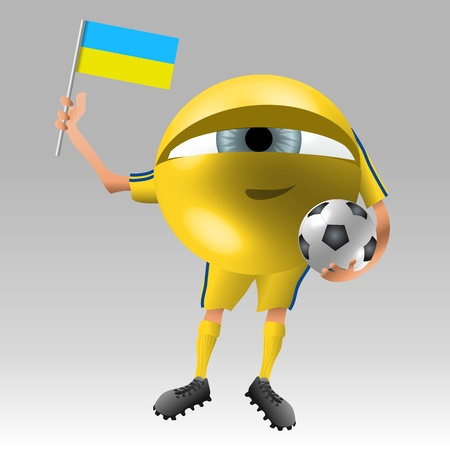 Symbolistic eyeball fan in ukraine soccer uniform ready with flag and ball photo