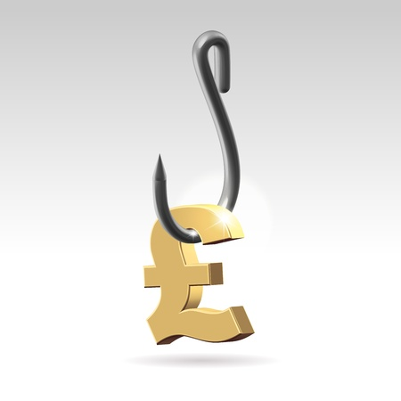 attention grabbing: Golden pound symbol hanging on a stainless steel hook closeup 3d render Stock Photo