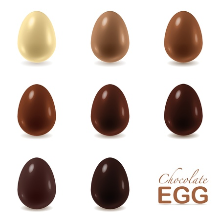 Different color chocolate eggs set from white to dark