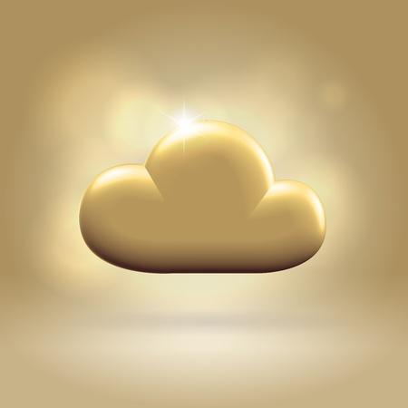 Golden metallic glossy generic cloud award illustration hanging over warm background Stock Photo
