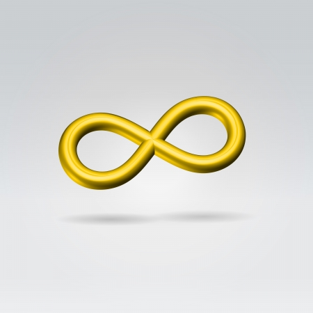Glowing Golden infinity symbol 3d closeup backlit hanging in space