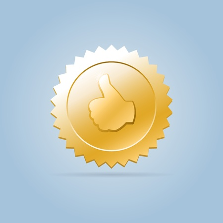 appreciate: Golden round faceted shining social badge like medal with engraved thumb up hand on it, hanging in air