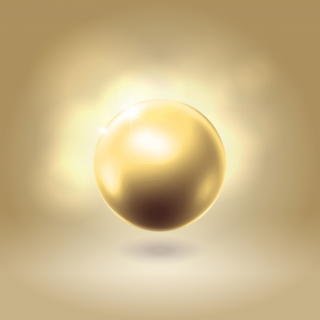 Gorgeous golden spherical pearl bead hanging over warm beige background