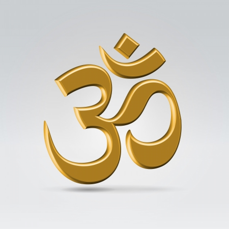 ohm symbol: Golden glossy om indian symbol hanging in the air over light background