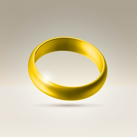 Golden glossy wedding band simple curved ring hanging in light space