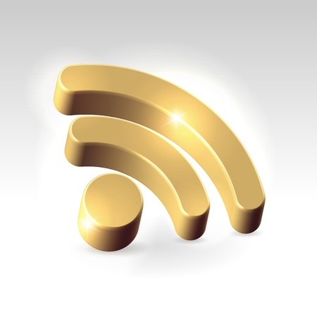 news reader: Golden shining RSS feed icon hanging over light background