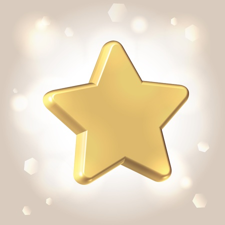 Golden smooth polished star over llight shining background