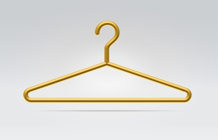 Realistic golden hanger icon for fashion clothes hanging in space on a neutral background