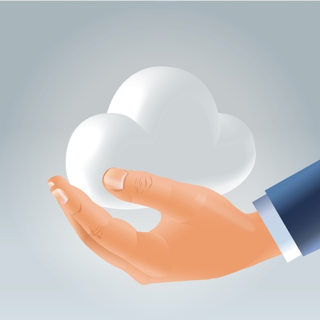 Businessman male hand  holding glossy plastic white cloud on palm