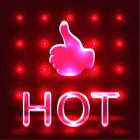 Red neon hot like over shining red background photo