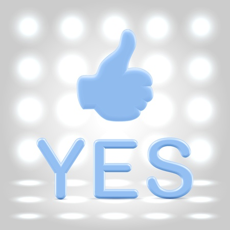 approvement: Plastic blue like hand and yes statement over light background Stock Photo