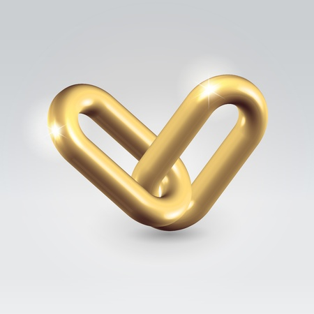 Golden chain links connection - hyperllink icon business concept