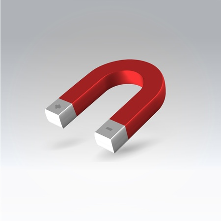 Glossy polished red magnet hanging in air stop motion 3d render illustration Stock Photo