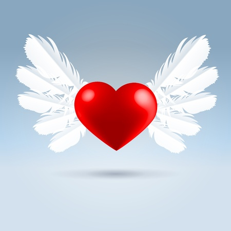 Glossy red heart with white feathered wings