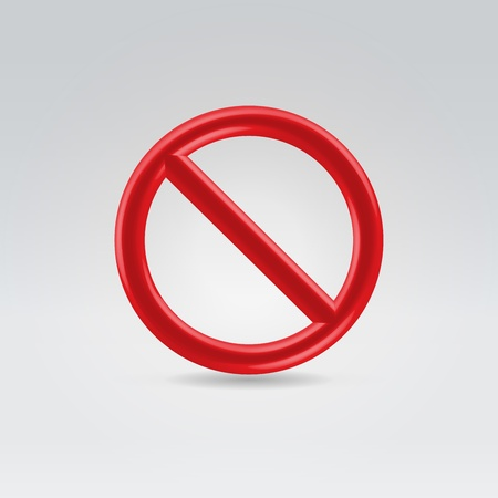strikethrough: Glossy red prohibition sign hanging in the air on light background