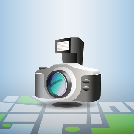 Blue navigation photo pin with pool icon on it, marking public pool on city detailed map Stock Photo