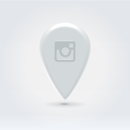 Glossy plastic white instant photo pin for navigation map