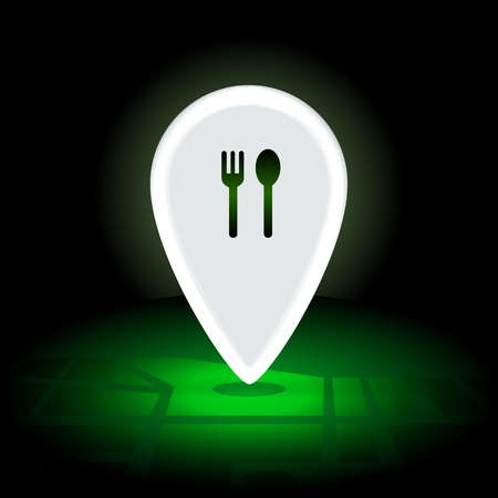 Night navigation eatery pin glowing in the darkness over block map